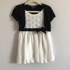 Girls ivory black with sewn on sweater